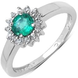 Malaika Sterling Silver 4/5ct TGW Emerald and White Topaz Ring