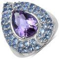 Malaika Sterling Silver Pear-cut Amethyst and Tanzanite Ring