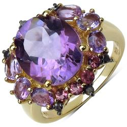 Malaika Yellow Gold Overlay Sterling Silver Amethyst, Rhodolite and Blue Diamond Ring