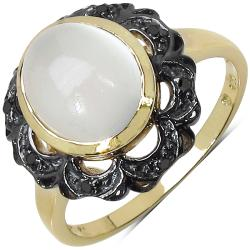 Malaika Sterling Silver White Moonstone and Black Diamond Ring