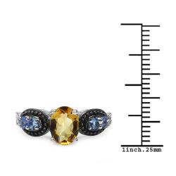 Malaika Sterling Silver Citrine and Tanzanite Ring