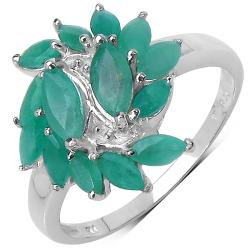Malaika Sterling Silver Green Marquise Emerald Ring