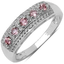 Malaika Sterling Silver Pink Tourmaline and White Topaz Ring