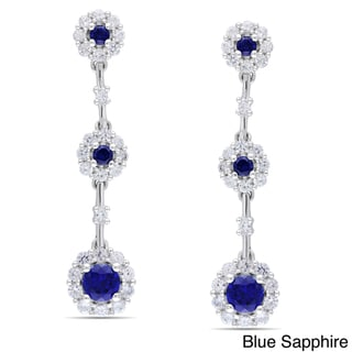 Miadora Sterling Silver Blue and White Sapphire Flower Earrings