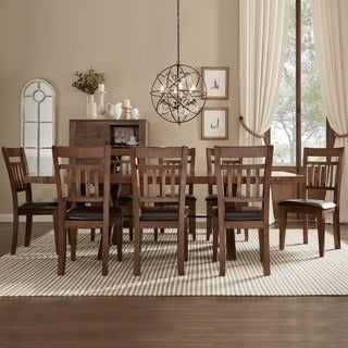 TRIBECCA HOME Inverness Warm Oak Turnbuckle 9-piece Mission Dining Set