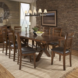 TRIBECCA HOME Inverness Warm Oak Turnbuckle 9-piece Mission Dining Set