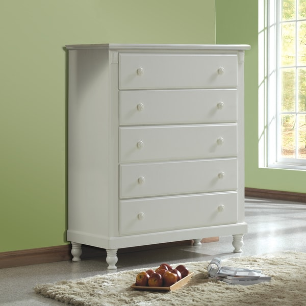 TRIBECCA HOME Macedonia White 5-drawer Chest