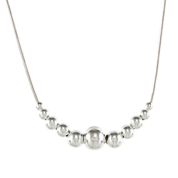 Southwest Moon Graduated Bead Liquid Metal 16-inch Necklace