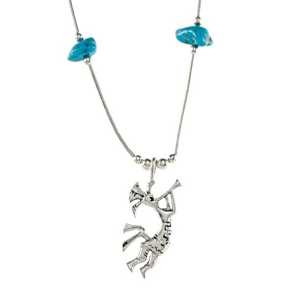 Southwest Moon Kokopelli Turquoise Chip Liquid Metal 16-inch Necklace