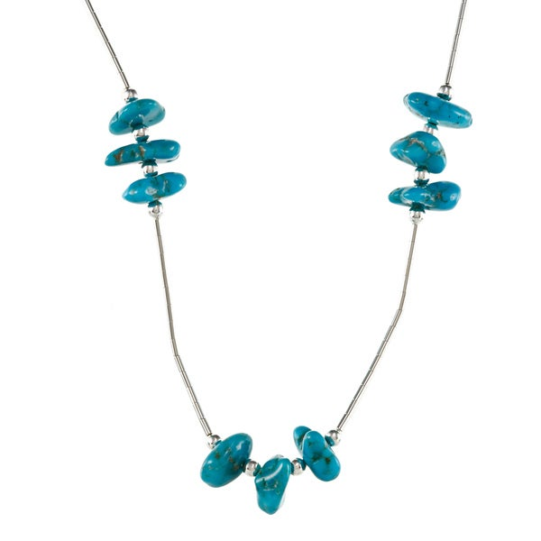 Southwest Moon Turquoise Chip Station Liquid Metal 16-inch Necklace