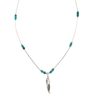 Southwest Moon Feather Turquoise Heishi Liquid Metal 16-inch Necklace