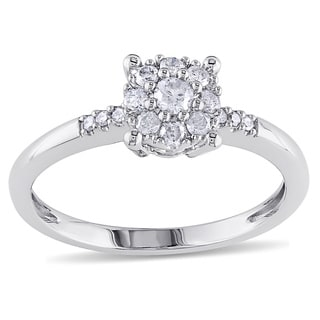 Miadora 14k White Gold 1/4ct TDW Diamond Cluster Ring (G-H, I1-I2)