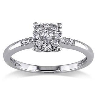 Miadora 14k White Gold 1/4ct TDW Diamond Engagement Ring (G-H, I1-I2) with Bonus Earrings