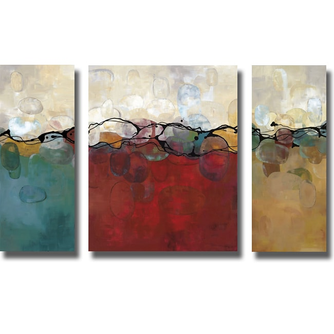 Laurie maitland 39 retro jewels 39 3 piece canvas art set for Set of three canvas paintings