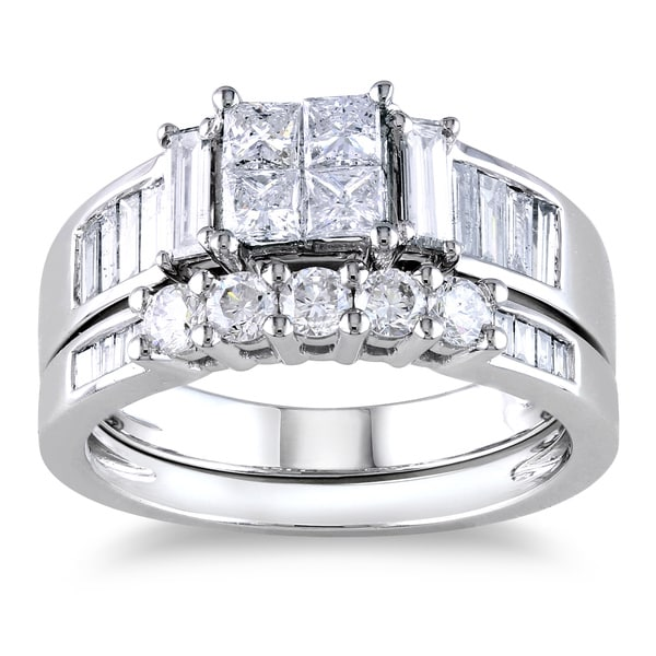 Miadora Signature Collection 14k White Gold 1 1/2ct Princess CutTDW Diamond Bridal Ring Set (G-H, I1-I2)
