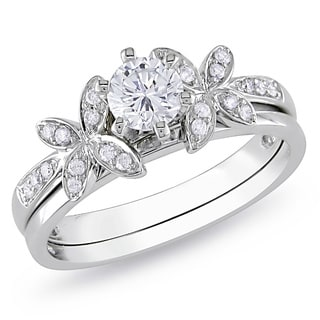 Miadora 10k White Gold 5/8ct TDW Diamond Bridal Ring Set (H-I, I2-I3)