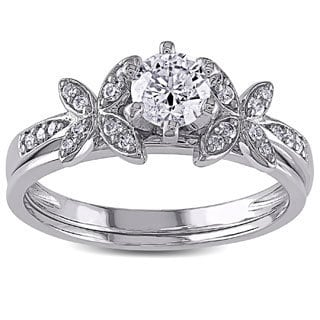 Miadora 10k White Gold 5/8ct TDW Diamond Bridal Set (G-H, I2-I3)