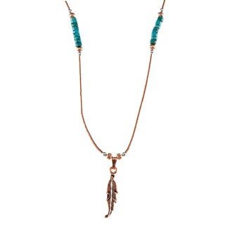 Southwest Moon Copper D-cut Feather Turquoise Heishi Liquid Metal 16-inch Necklace