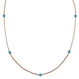 Southwest Moon Blue Turquoise Station Liquid Copper 16-inch Necklace