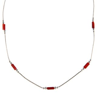Southwest Moon Dyed Red Coral Station Liquid Metal 16-inch Necklace