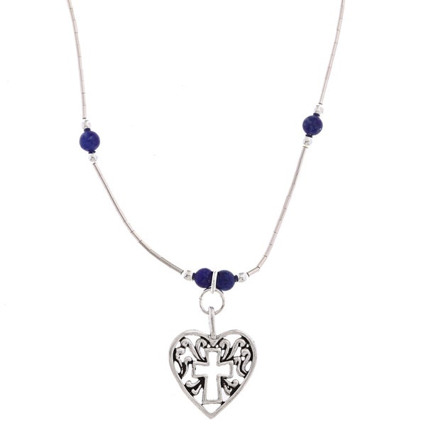 Southwest Moon Cross In Heart Lapis Bead Liquid Metal 16-inch Necklace
