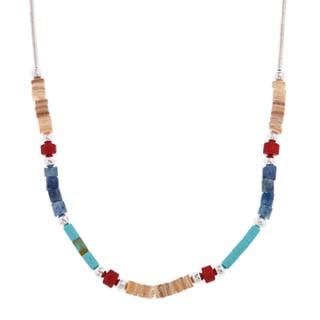 Southwest Moon Multi-gemstone Heishi Liquid Metal 16-inch Necklace