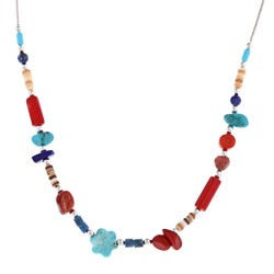 Southwest Moon Multi-gemstone Bead Liquid Metal 16-inch Necklace