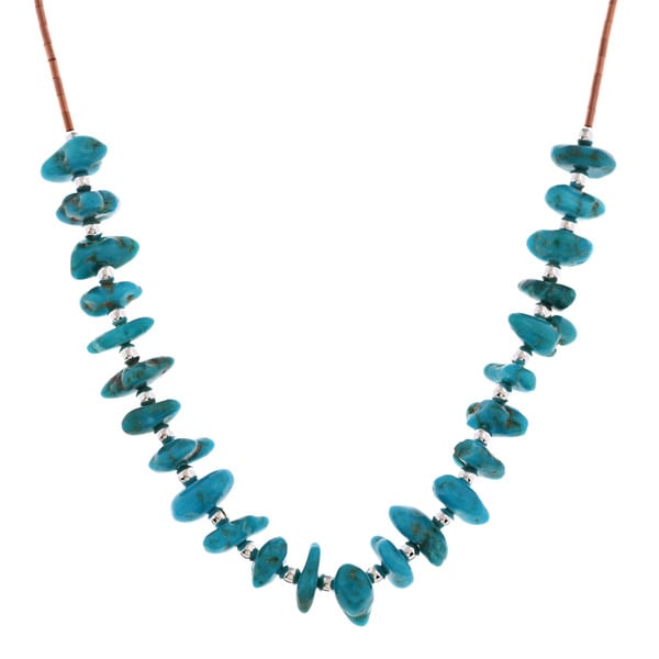 Southwest Moon Turquoise Chip Liquid Copper 16-inch Necklace
