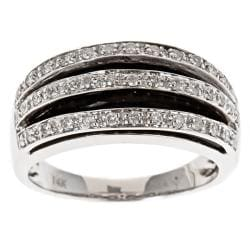 D'Yach 14k White Gold Inlaid Onyx and 1/3ct TDW Diamond Ring