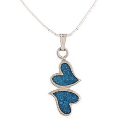 Southwest Moon Double Hearts Turquoise Inlay Liquid Metal 16-inch Pendant Necklace
