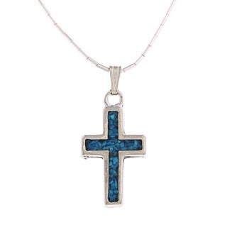 Southwest Moon Cross Turquoise and Coral Inlay Liquid Metal Pendant Necklace