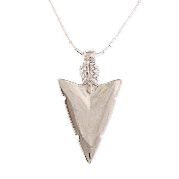Southwest Moon Arrowhead Liquid Metal 16-inch Pendant Necklace