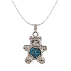 Southwest Moon Teddy Bear Turquoise Inlay Liquid Metal 16-inch Pendant Necklace