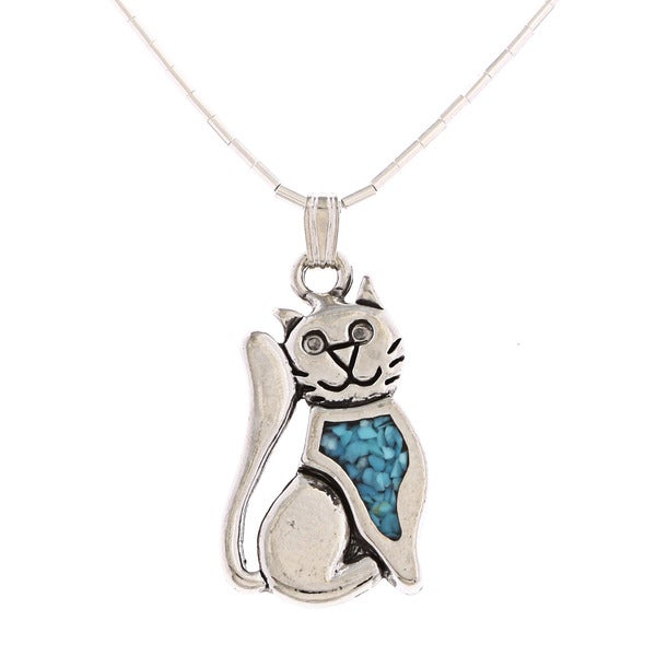 Southwest Moon Sitting Cat Turquoise Inlay Liquid Metal 16-inch Pendant Necklace