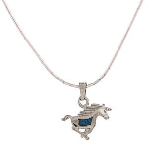 Southwest Moon Unicorn Turquoise Inlay Liquid Metal 16-inch Pendant Necklace
