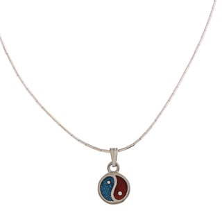 Southwest Moon Yin-Yang Turquoise and Coral Inlay Liquid Metal 16-inch Pendant Necklace