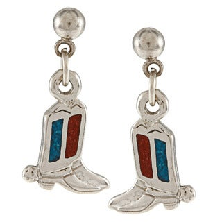 Southwest Moon Stainless Steel Turquoise and Coral Inlay Cowboy Boots Dangle Earrings