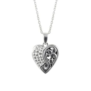 Sunstone Sterling Silver Crystal 'Bali Bling' Filigree Pave Heart Necklace