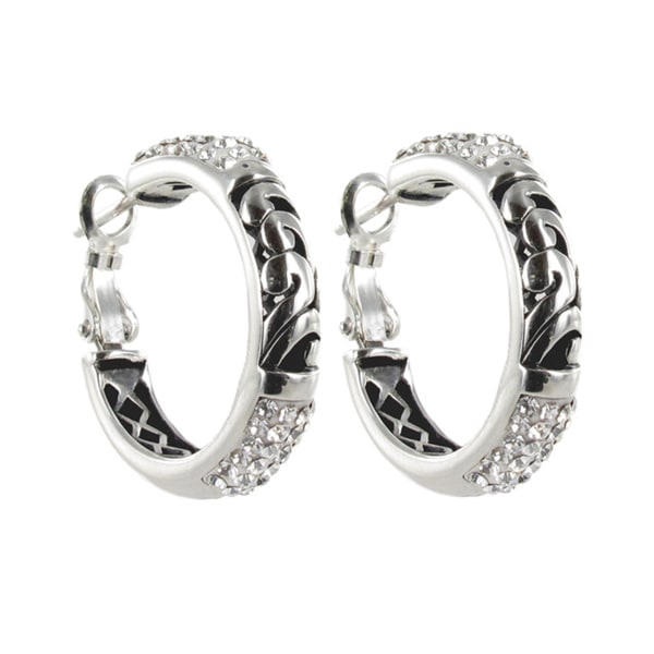 Sunstone Sterling Silver Crystal 'Bali Bling' Filigree Pave Hoop Earrings