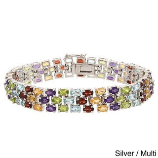 Glitzy Rocks Silvertone or Gold Overlay Gemstone 3-tier Bracelet