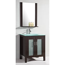 Glass Top 28-inch Single Sink Bathroom Vanity with Mirror