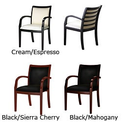 Mayline Mercado Series Wood and Leather Ladder Back Chairs (Set of 2)