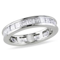 Miadora 14k White Gold 2ct TDW Channel-set Diamond Eternity Ring (G-H, SI1-SI2)