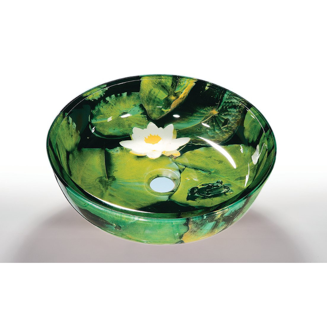 Lilly Pad Glass Bowl Vessel Bathroom Sink - 14535316 - Overstock.com ...