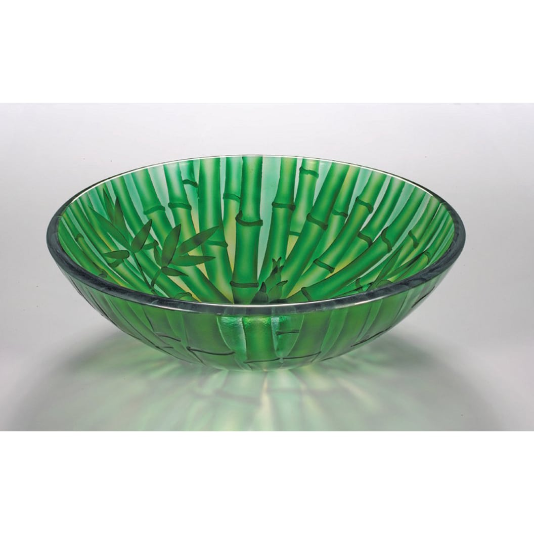 Glass Vessel Bowls : Bamboo-inspired Glass Bowl Vessel Bathroom Sink - 14535319 - Overstock ...