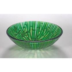 Bamboo-inspired Glass Bowl Vessel Bathroom Sink
