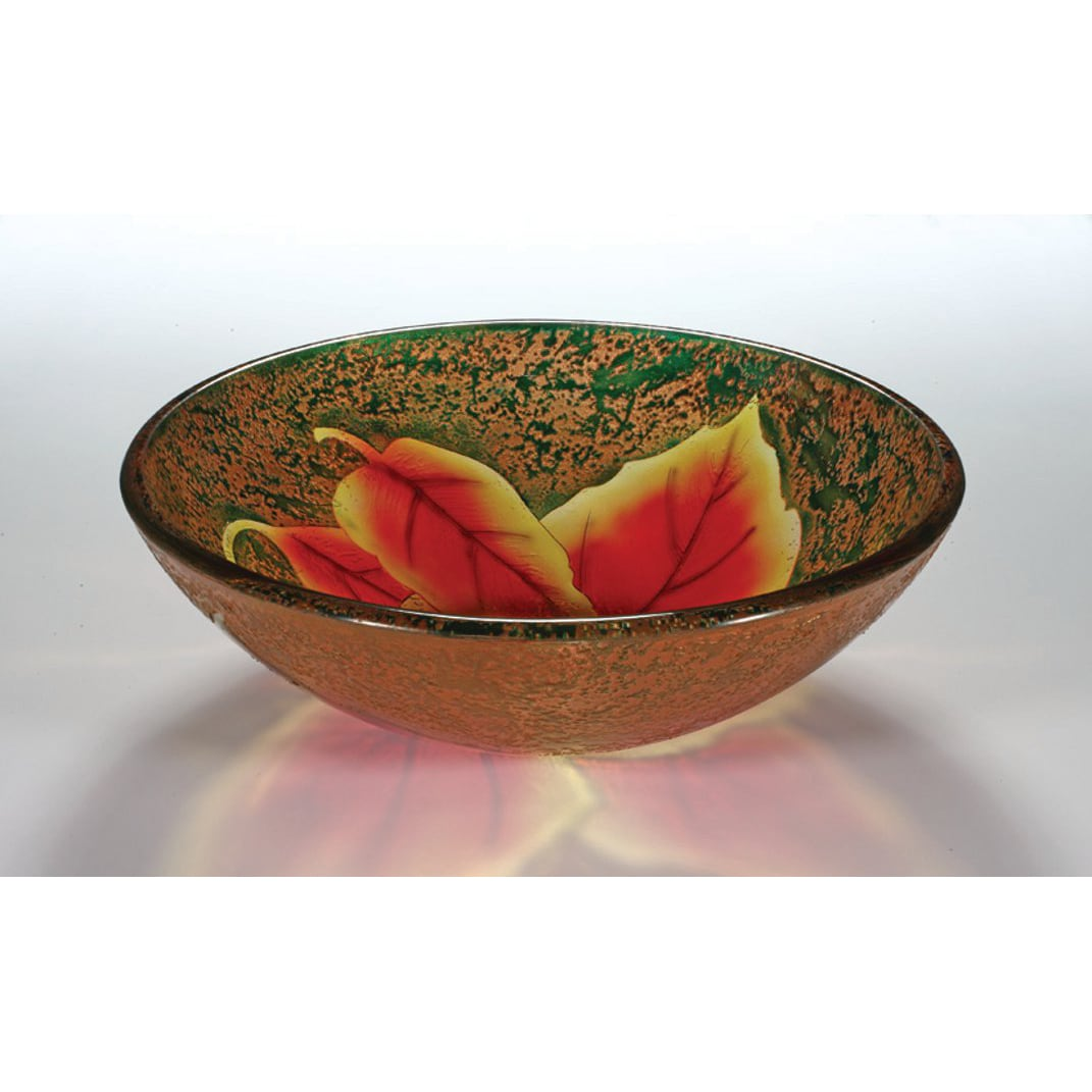 Autumn Leaf Glass Bowl Vessel Bathroom Sink - 14535320 - Overstock.com ...