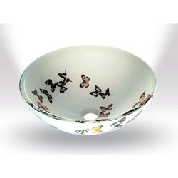 Butterfly Glass Bowl Vessel Bathroom Sink