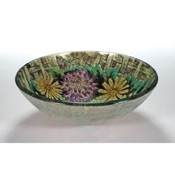 Floral Glass Bowl Vessel Bathroom Sink