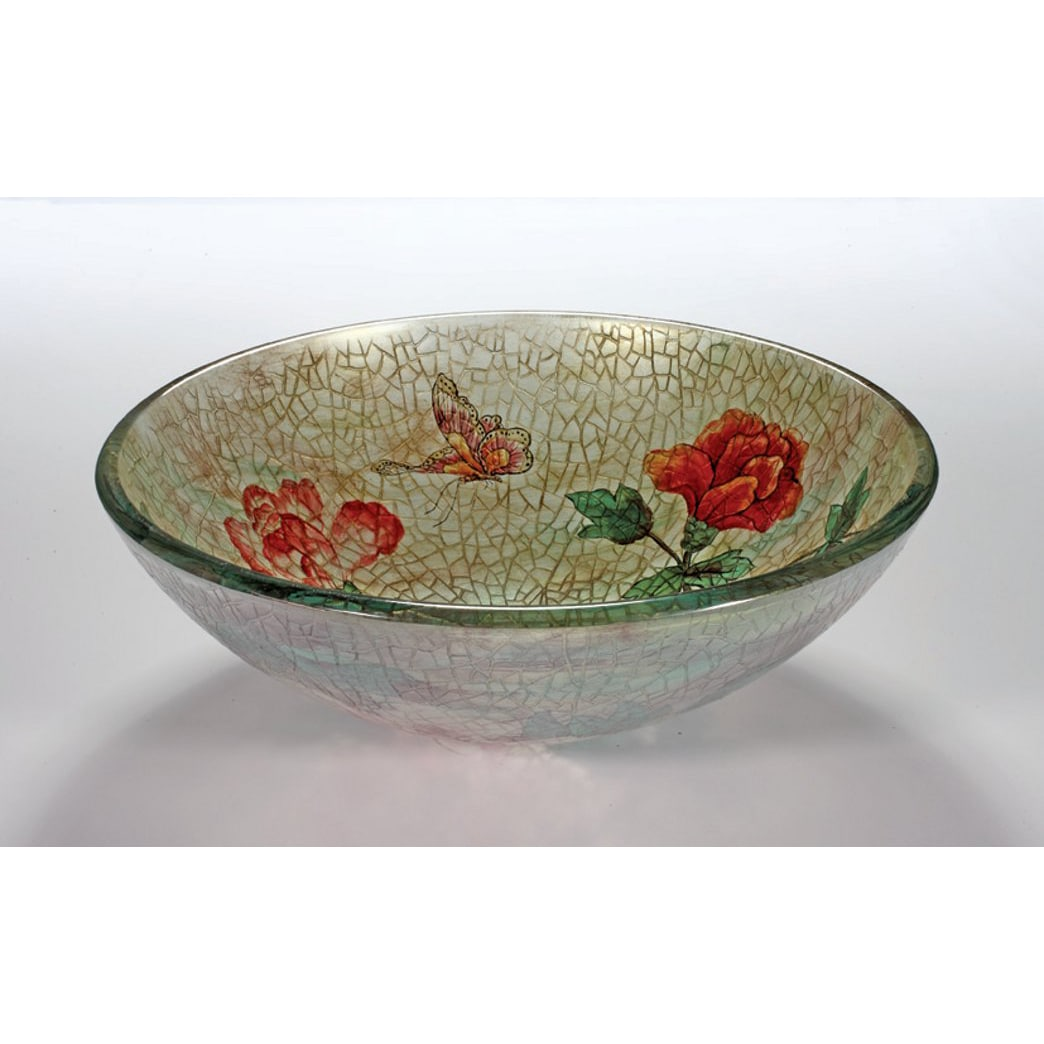 Rose/ Butterfly Glass Bowl Vessel Bathroom Sink
